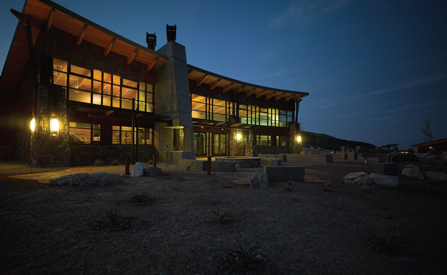 The Spring Mountains Visitor Gateway at night, designed by LGA Architecture.