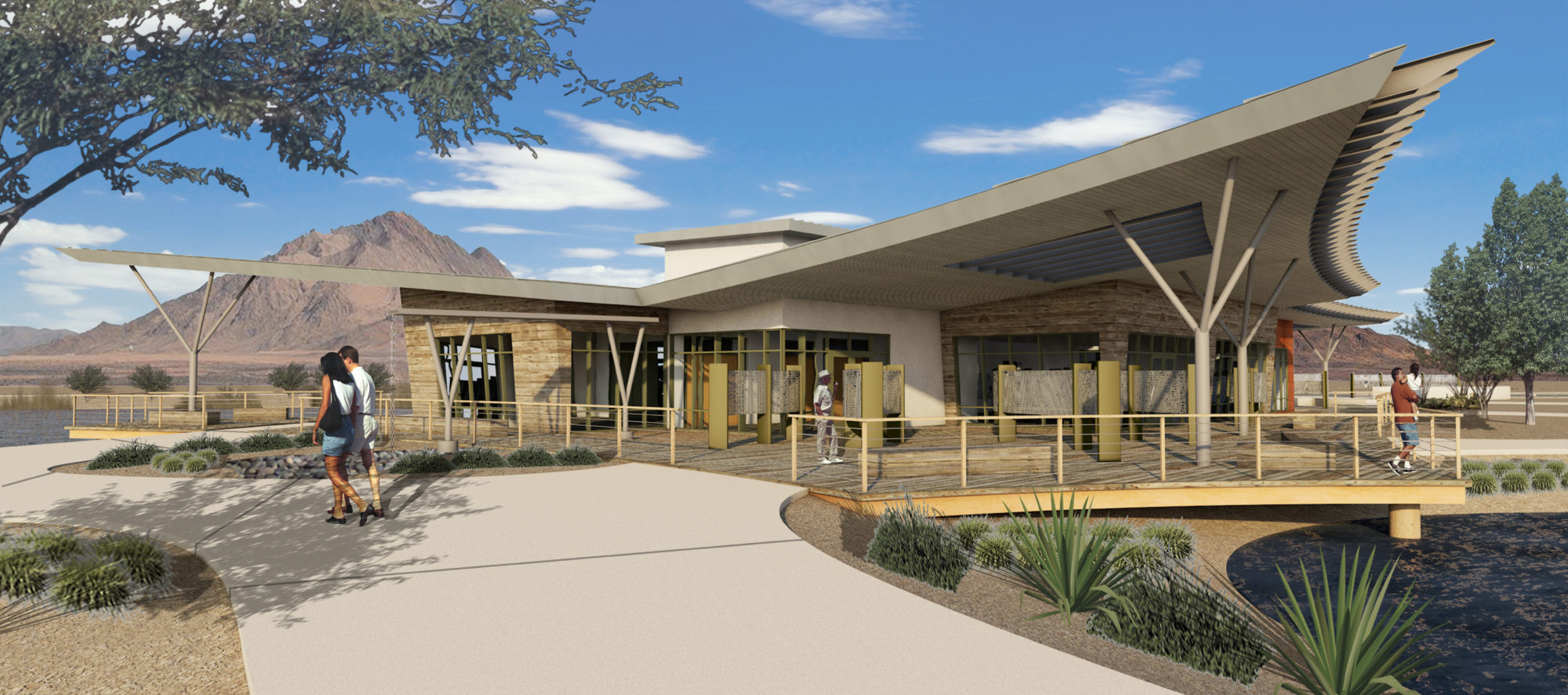 A rendering of the City of Henderson Bird Viewing Preserve. A project with lots of community engagement in the design process.