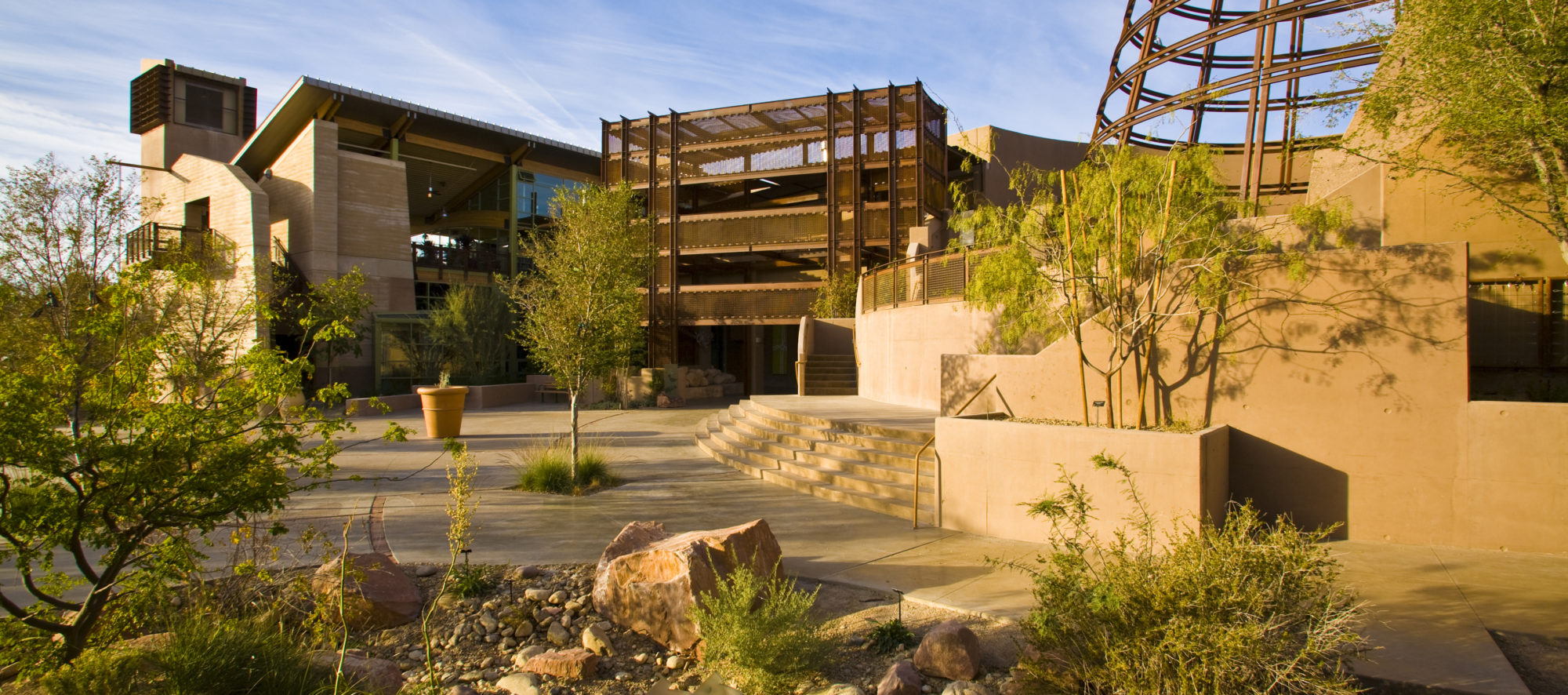 The entrance to the Desert Living Center at the Springs Preserve, Las Vegas, NV, designed by LGA Architecture.
