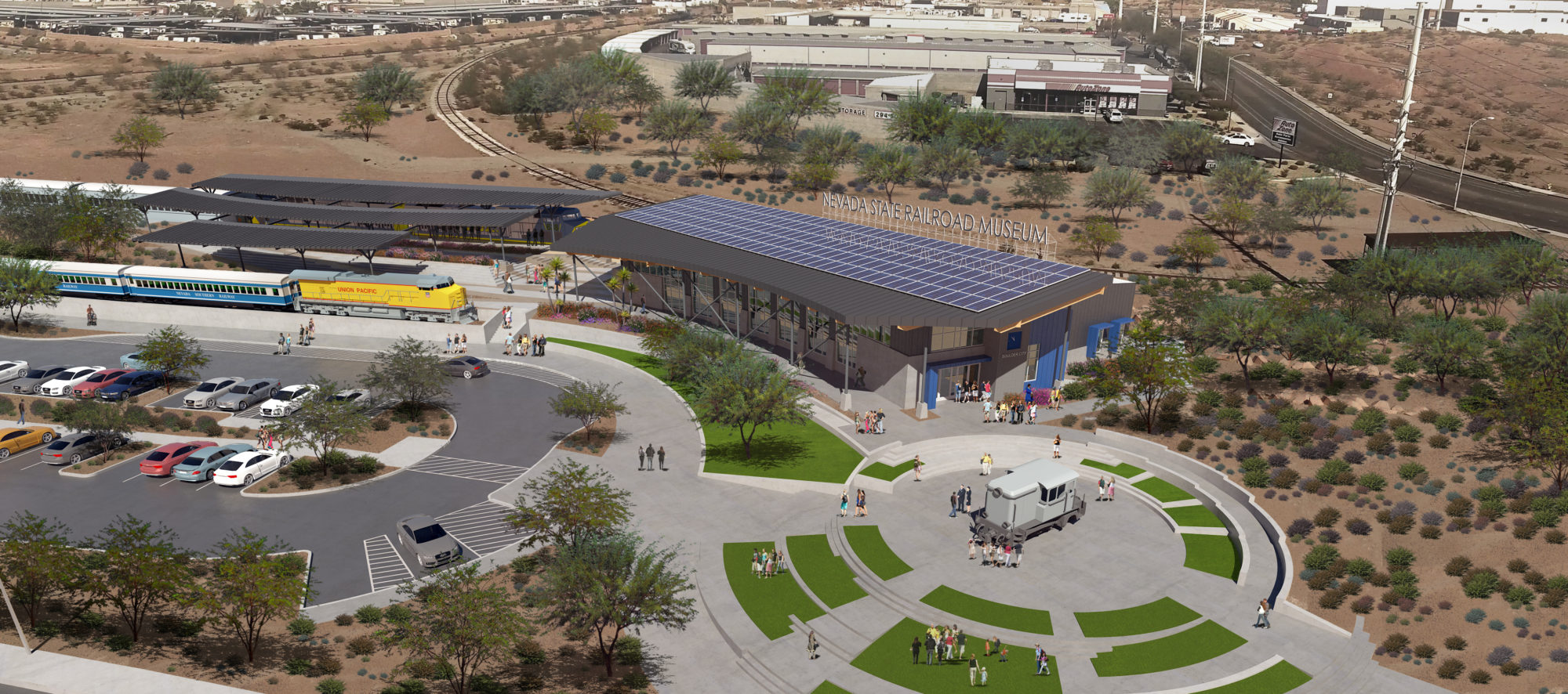 An aerial rendering of the proposed Boulder City Railroad Museum visitor center, designed by LGA Architecture.