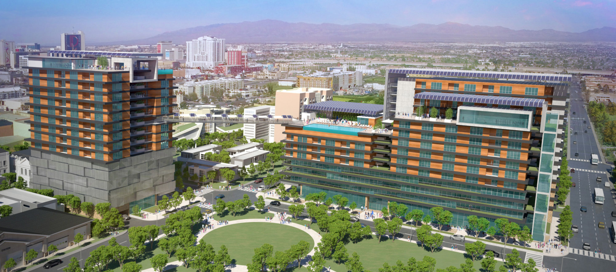 A design rendering of the proposed Downtown 57 project in Las Vegas, designed by LGA Architecture.