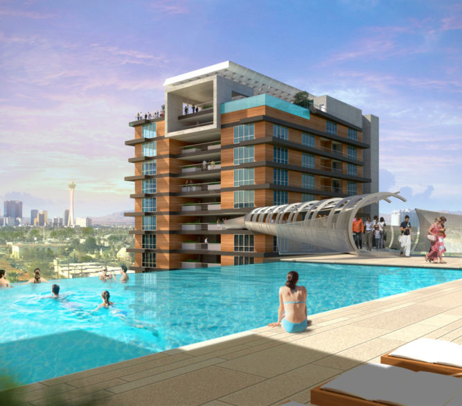 A rendering of the rooftop pool for the proposed Downtown 57 project in Las Vegas, designed by LGA Architecture.