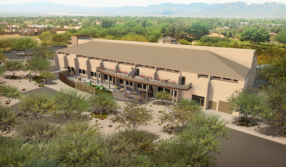 A rear exterior rendering of the proposed renovation of the Boulder City Library.