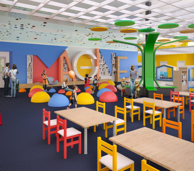 An interior rendering of the children's section of the Boulder City Library designed by LGA Architecture.