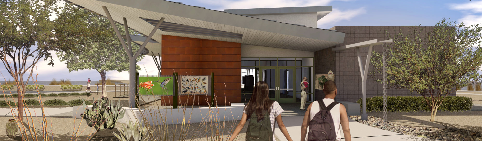 An exterior rendering of the proposed visitor center at the Henderson Bird Viewing Preserve, designed by LGA Architecture.