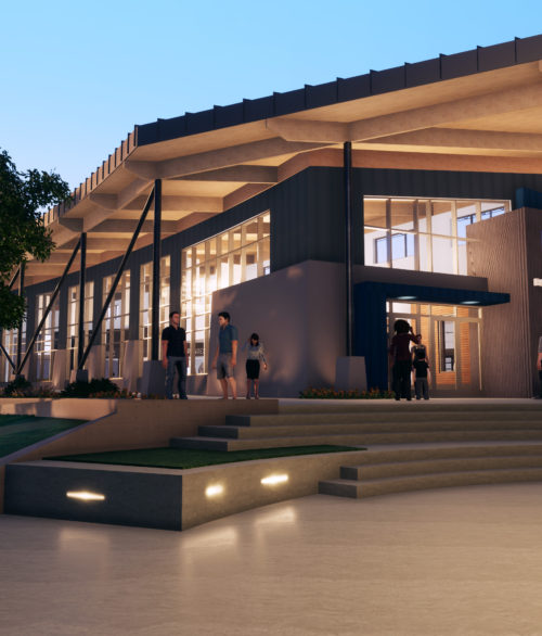 An exterior rendering of the proposed Boulder City Railroad Museum visitor center, designed by LGA Architecture.