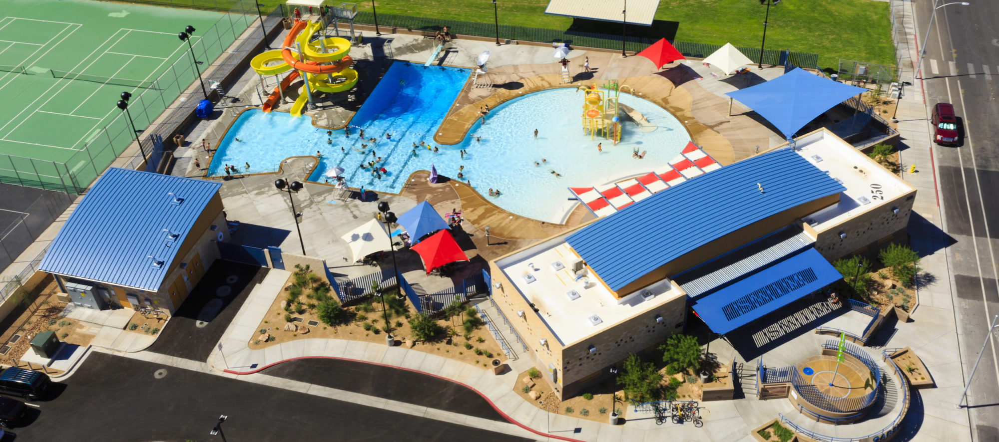 An aerial view of the fully renovated Garside Pool, designed by LGA Architecture.
