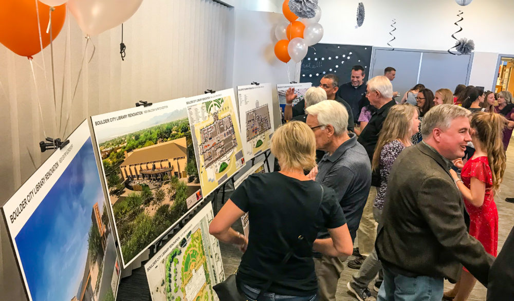 A picture at the presentation of the renderings of the proposed renovations of the Boulder City Library.