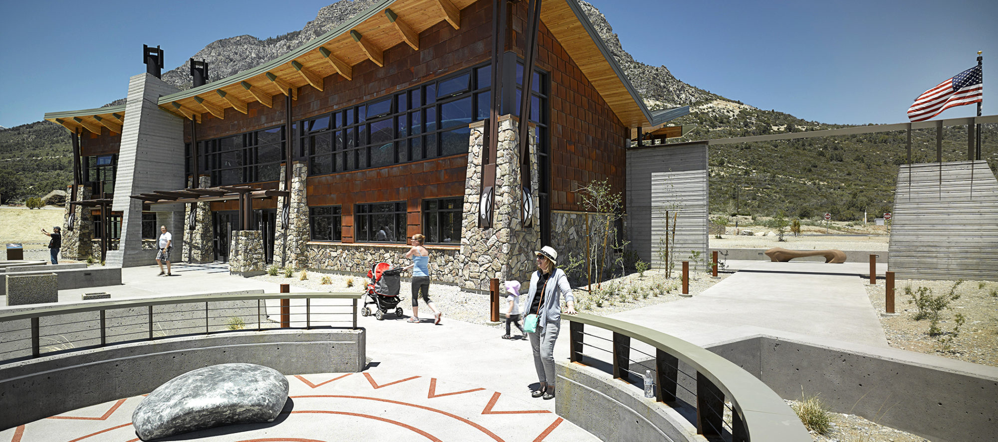 The exhibit circle of the Spring Mountains Visitor Gateway, masterplan and design by LGA Architecture.