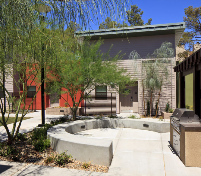 The rear backyard and barbeque area of the St Jude's Ranch Crossings affordable housing project, designed by LGA Architecture.