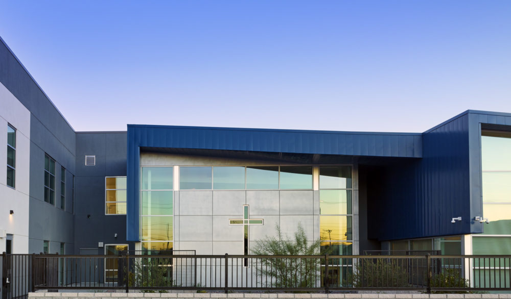 The chapel at the Cristo Rey St. Viator College Preparatory School, religious design by LGA Architecture.