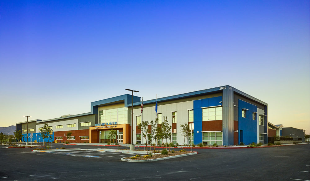 The front of the Cristo Rey St. Viator College Preparatory School building, designed by LGA Architecture.