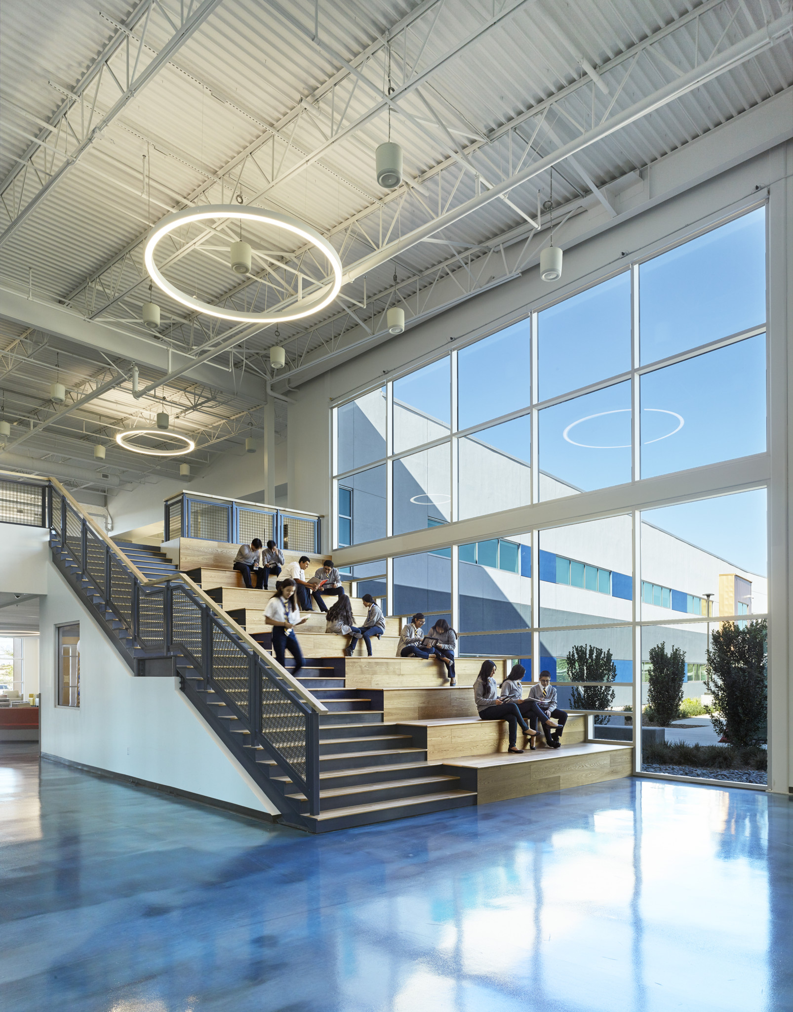 The main stairs at Cristo Rey St. Viator College Preparatory Academy, education design by LGA Architecture.