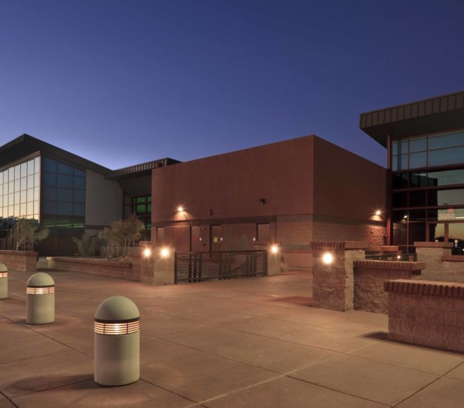 The front entrance of the Skyview Multigenerational Center, master plan and design by LGA Architecture