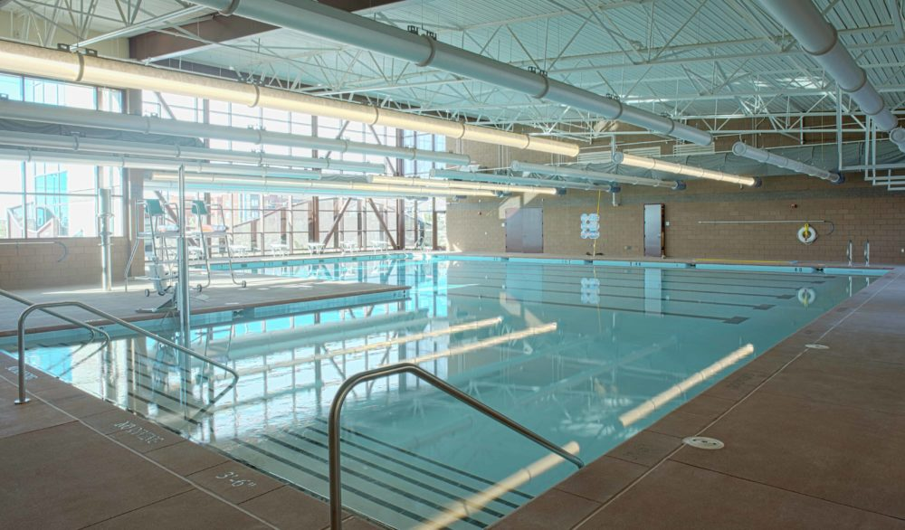 The indoor pool facility at the Skyview Multigenerational Center, masterplan and design by LGA Architecture.