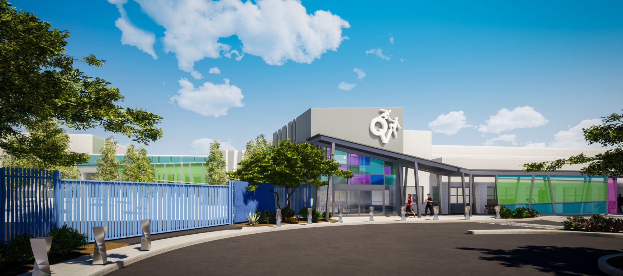 The rendering of the entrance to the Opportunity Village Oakey Campus,designed by LGA Architecture.