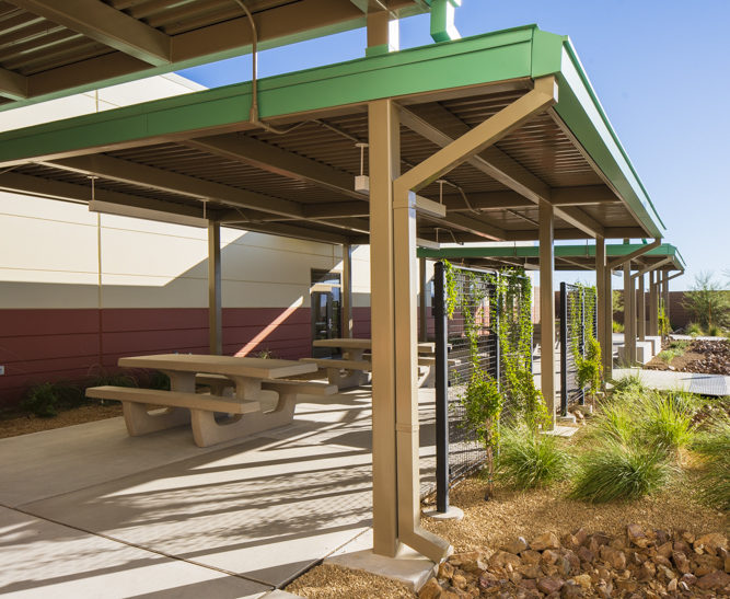 A picnic/lunch area for employees of the Clark County Public Works multi-use facility in Southwest Las Vegas, designed by LGA Architecture.