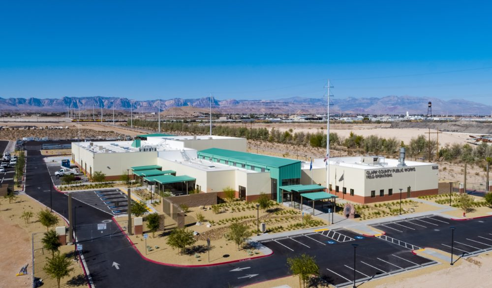 An aerial view of the completed Clark County Public Works multi-use facility in Southwest Las Vegas, designed by LGA Architecture.