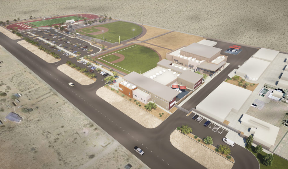 An aerial rendering of the Sandy Valley School K-12 facility, designed by LGA Architecture.