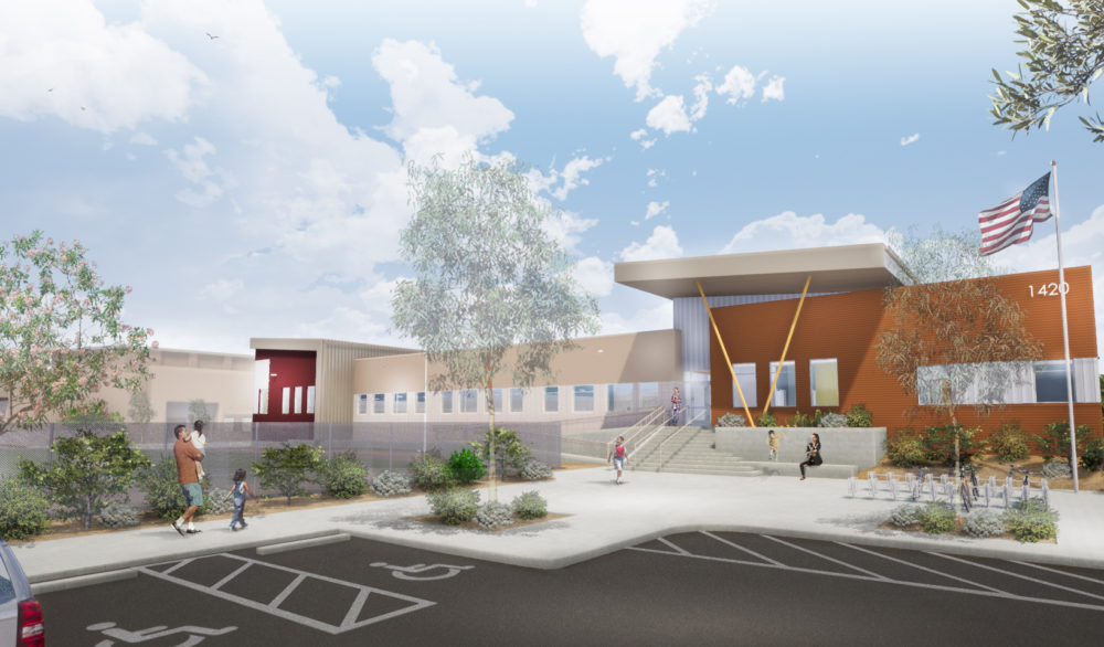 A rendering of the front exterior of the Sandy Valley School K-12 facility, designed by LGA Architecture.