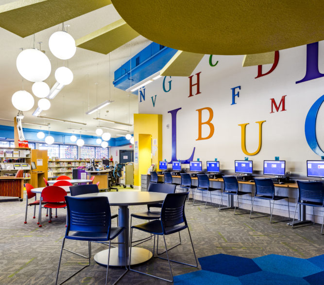 The computer area of the Young People's library at the Sunrise Library, designed by LGA Architecture.