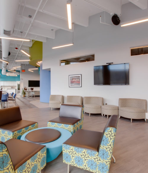 A waiting room of Turntable Health, interior design by LGA Architecture.