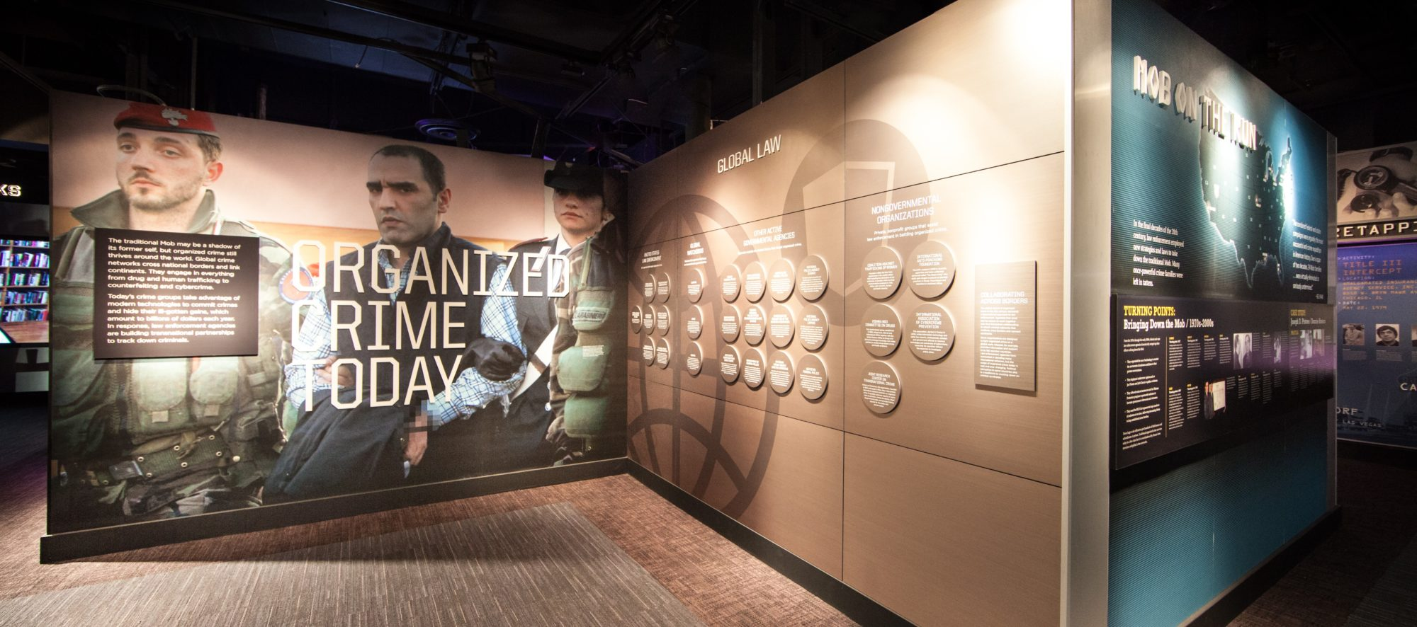 An exhibit display inside the Mob Museum, part of the renovations designed by LGA Architecture.