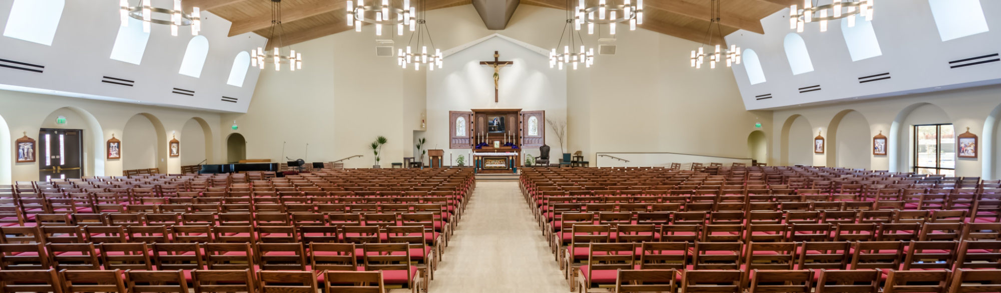 Inside the St. Anthony of Padua Parish Hall, masterplan and design by LGA Architecture.