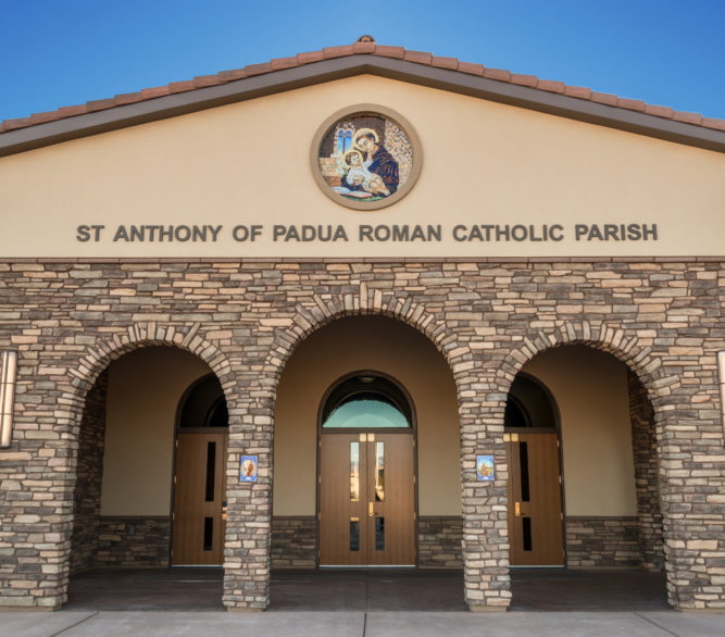 The front entrance to the St. Anthony of Padua Parish Hall, designed by LGA Architecture.