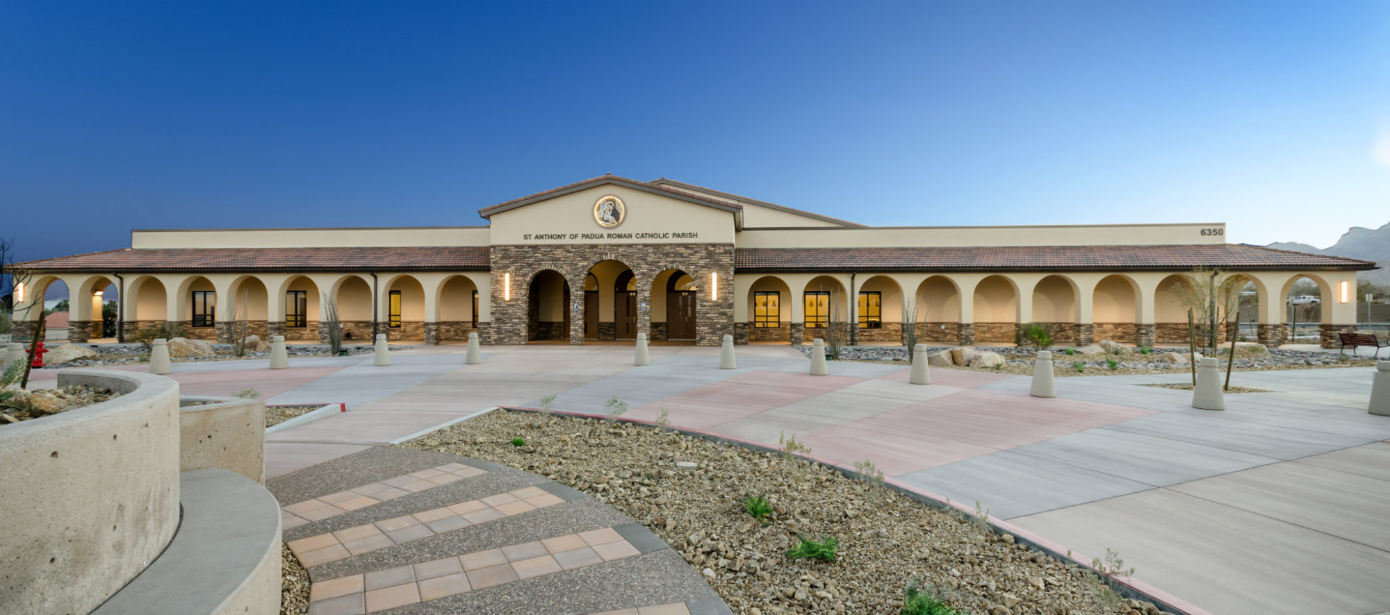 The front view of the St. Anthony of Padua Parish Hall, master plan and design by LGA Architecture.