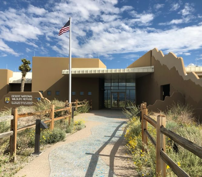 The entrance to the Desert National Wildlife Refuge Visitor Center