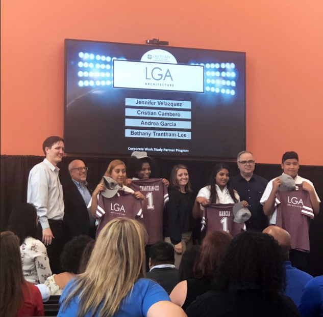 Students and LGA staff with students at the Cristo Rey St. Viator College Preparatory School.