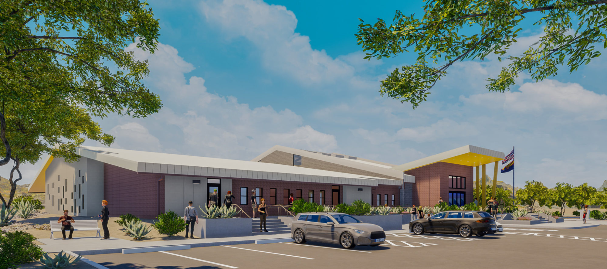 A rendering of the proposed renovation and addition of the Mohave County Library Kingman, AZ branch.