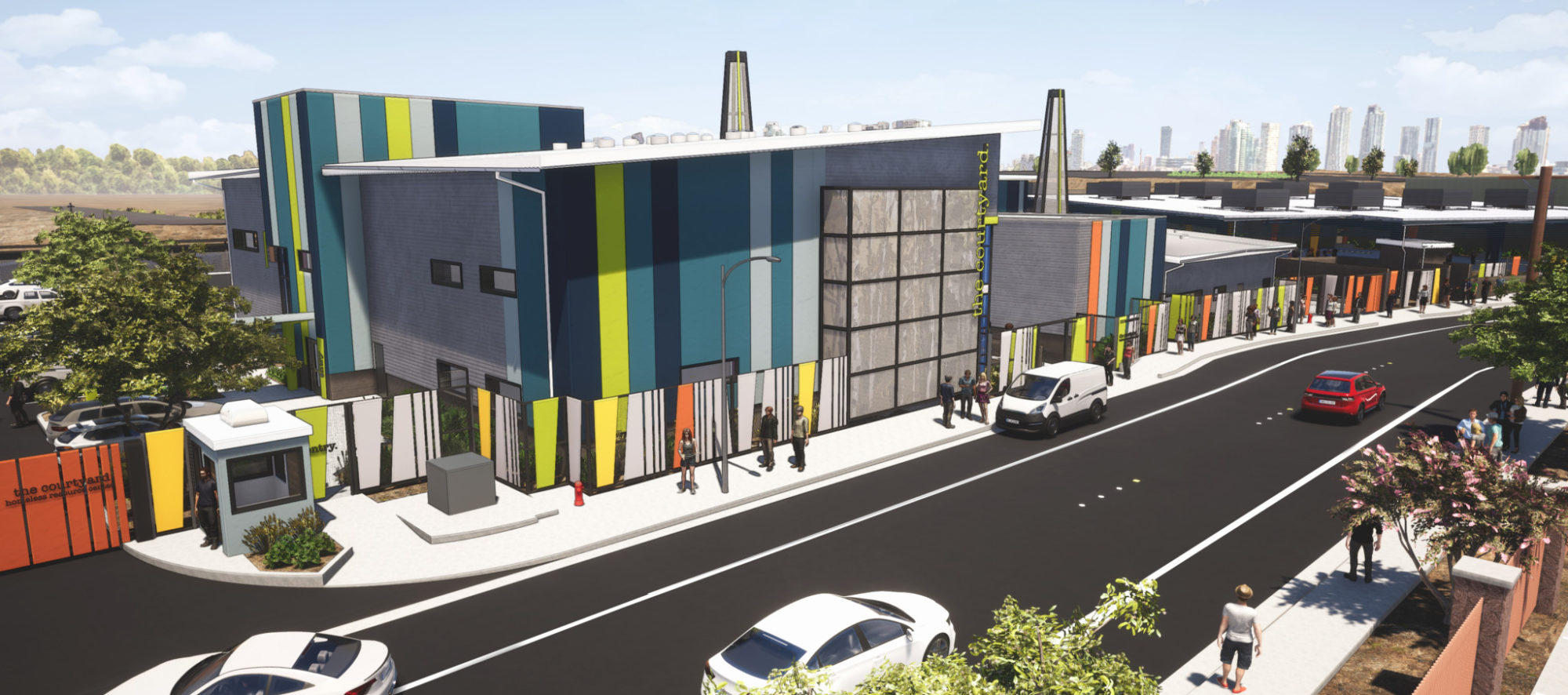 An exterior rendering of the Corridor of Hope Courtyard in Downtown Las Vegas, designed by LGA Architecture.
